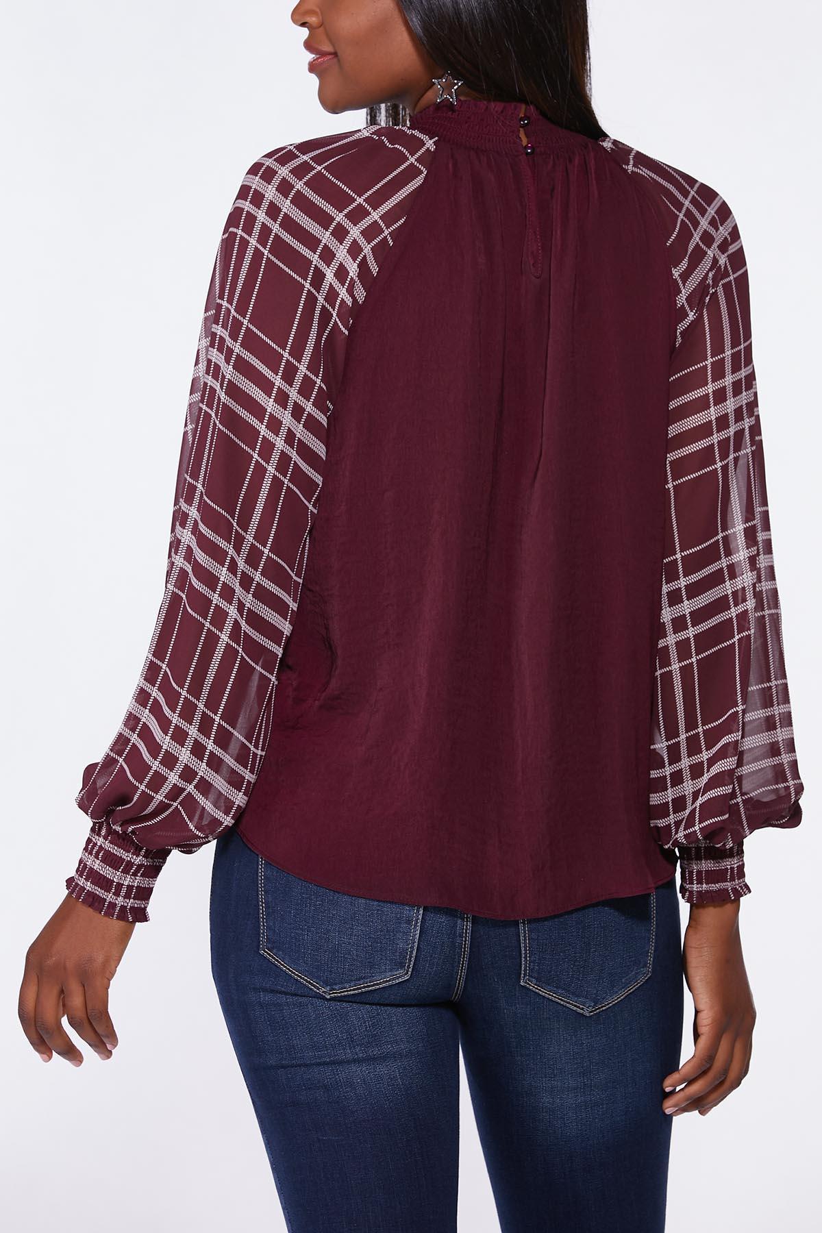 Plus Size Plaid Balloon Sleeve Top (Item #44706404)