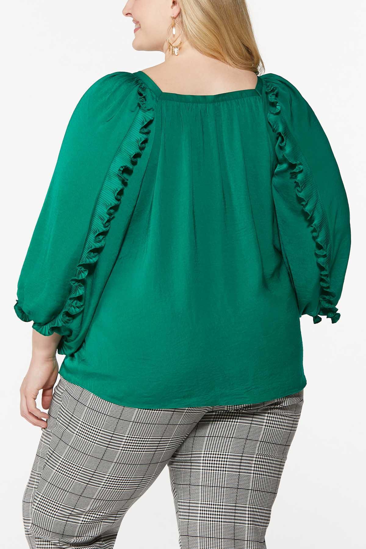 Plus Size Silky Ruffled Sleeve Top (Item #44706515)