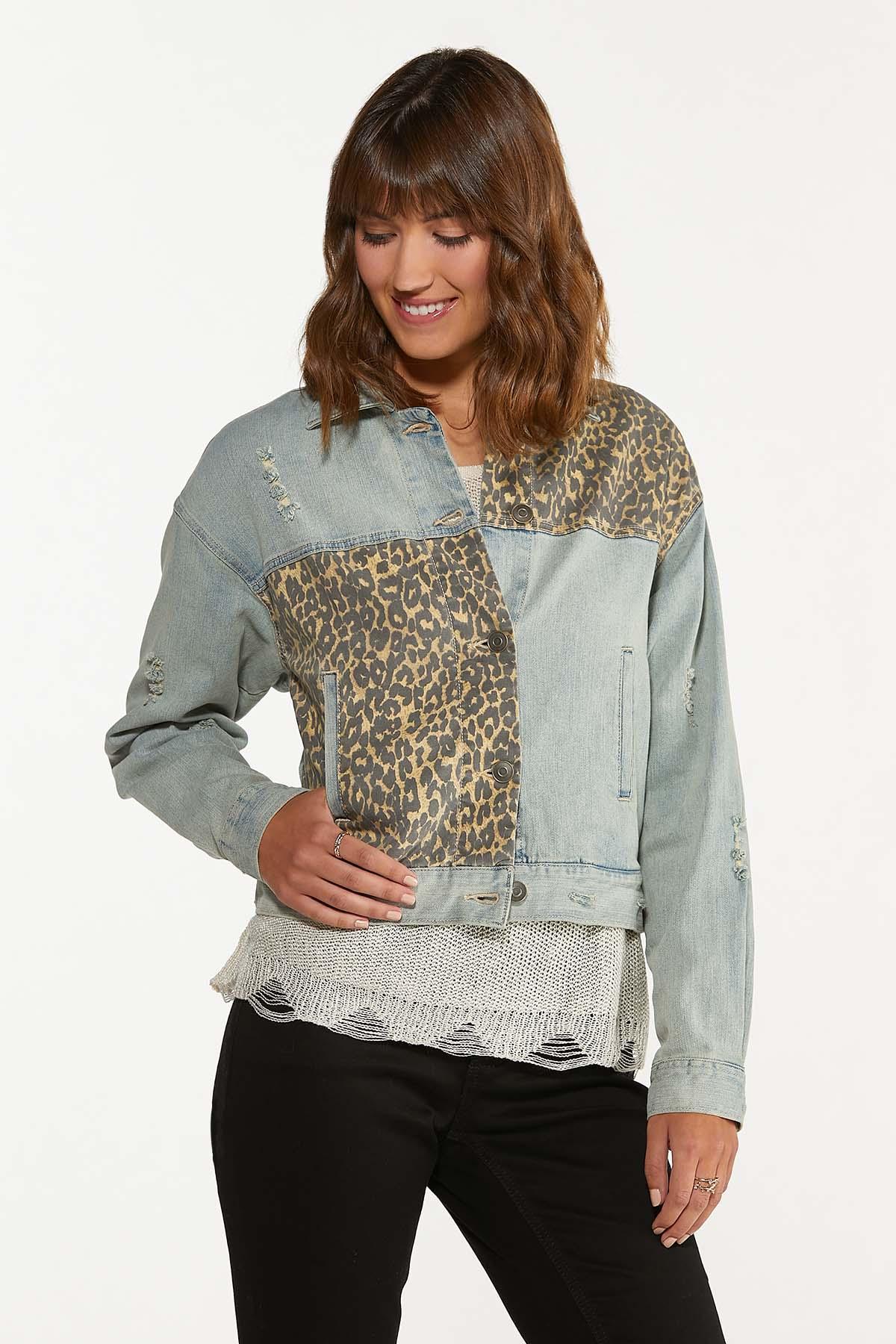 Leopard Patchwork Denim Jacket (Item #44707610)