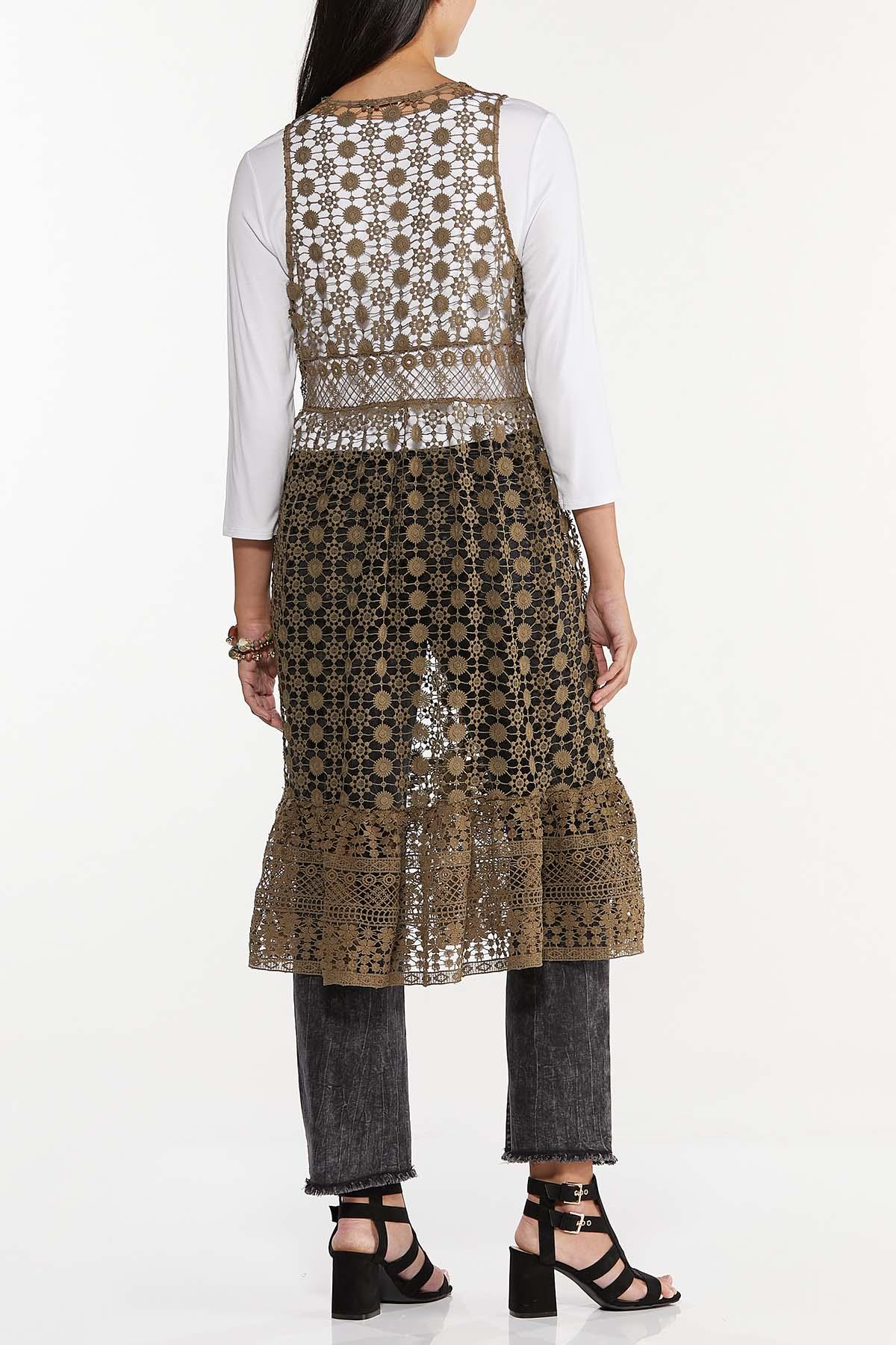 Plus Size Allover Crochet Vest (Item #44708710)