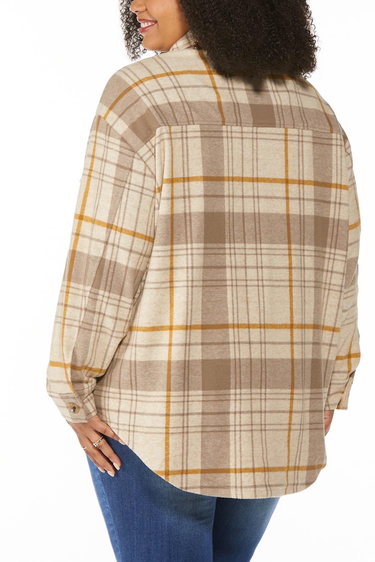 Plus Size Fleece Plaid Shacket (Item #44709519)