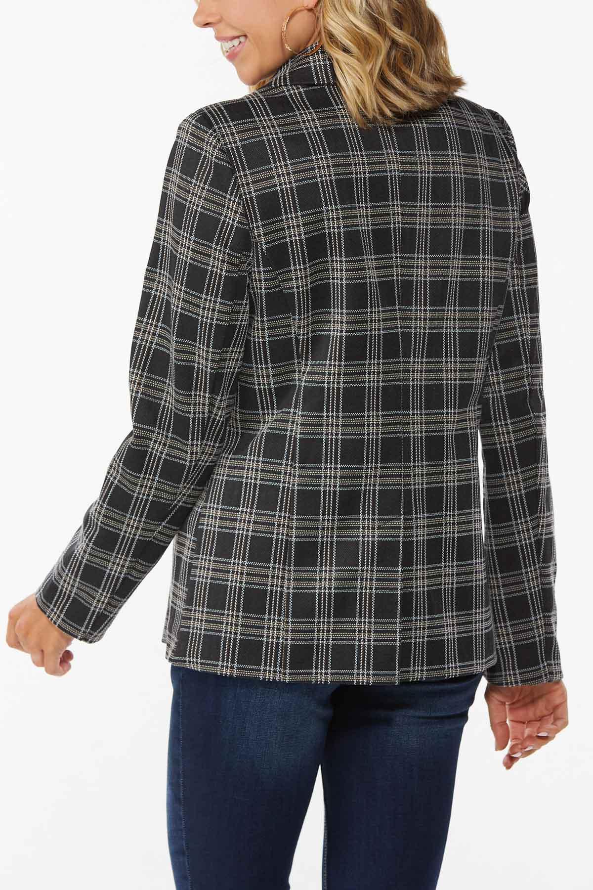 Plus Size Textured Plaid Blazer (Item #44709691)