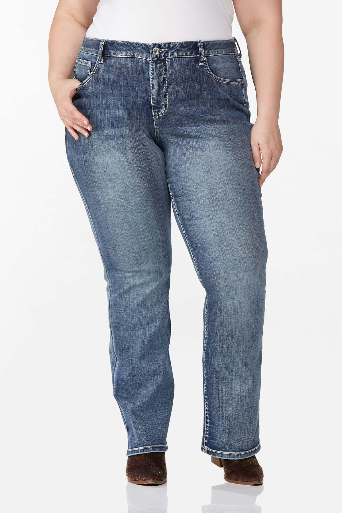 Plus Size Stone Leopard Pocket Jeans (Item #44709693)