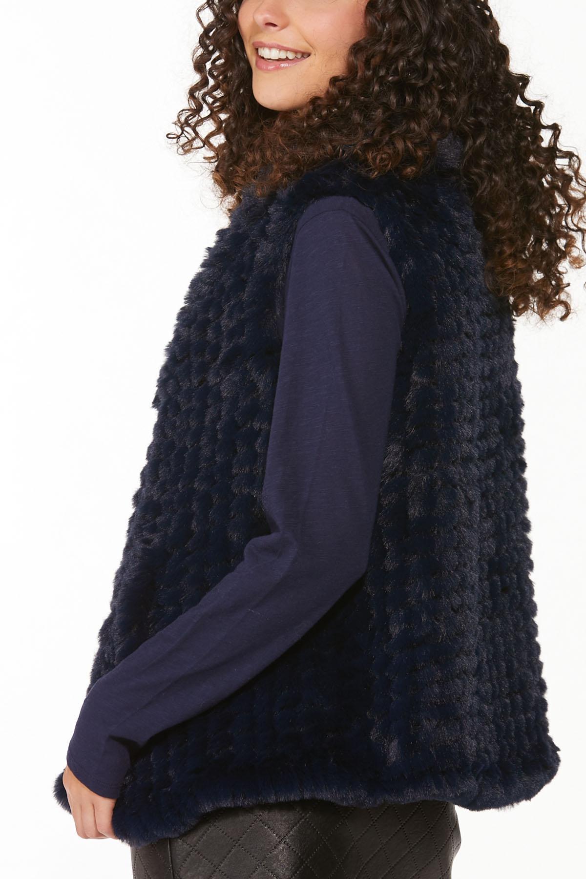 Navy Faux Fur Vest (Item #44710345)