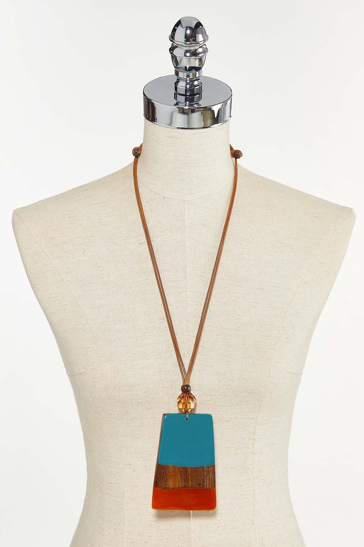 Resin Wood Pendant Necklace (Item #44710924)