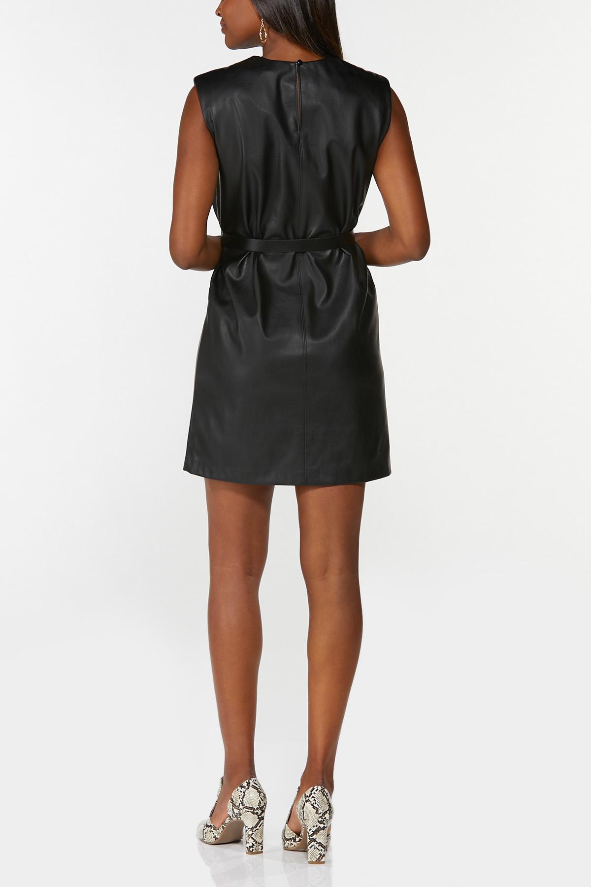 Padded Shoulder Leather Dress (Item #44711245)