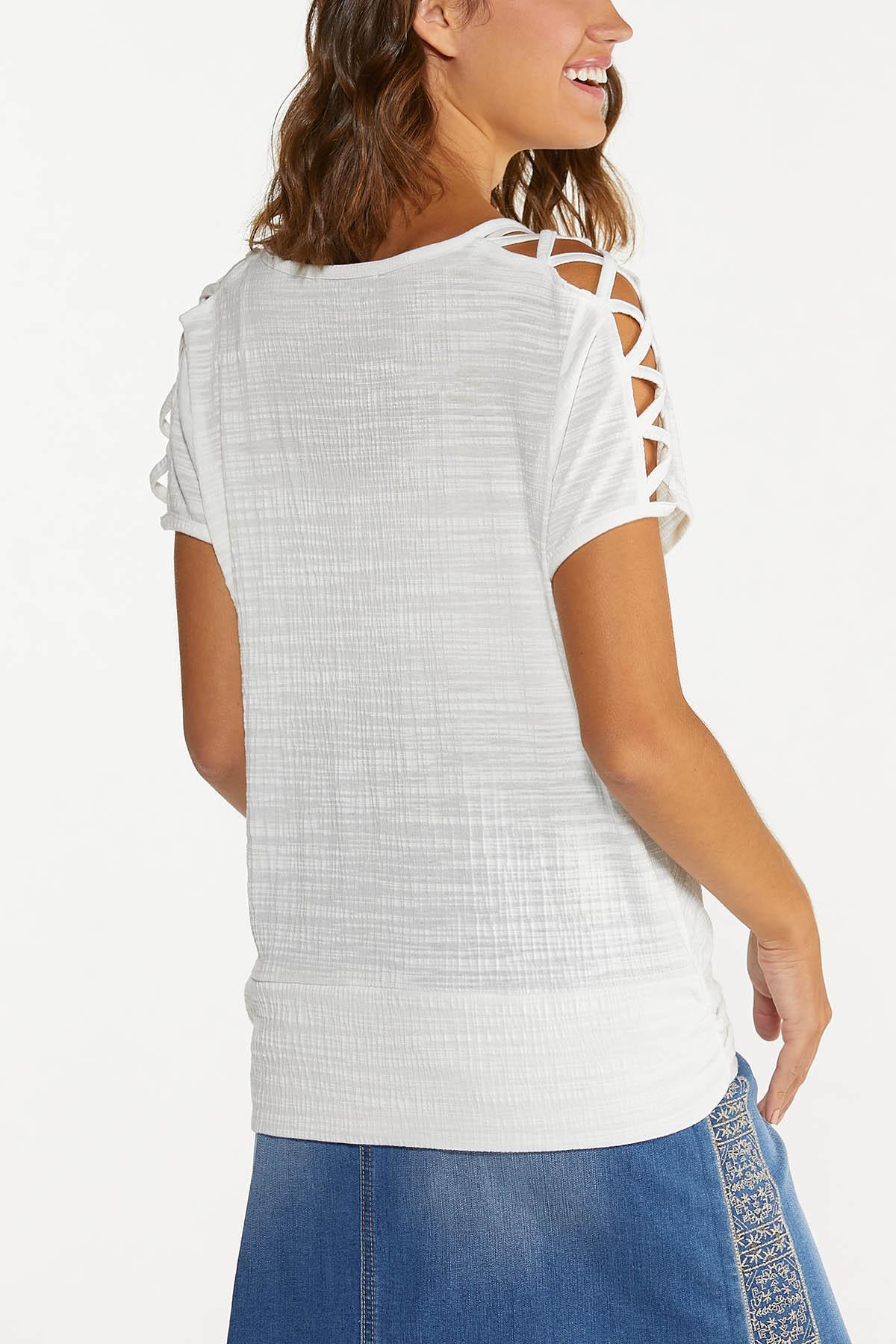 Criss Cross Cutout Sleeve Top (Item #44711405)