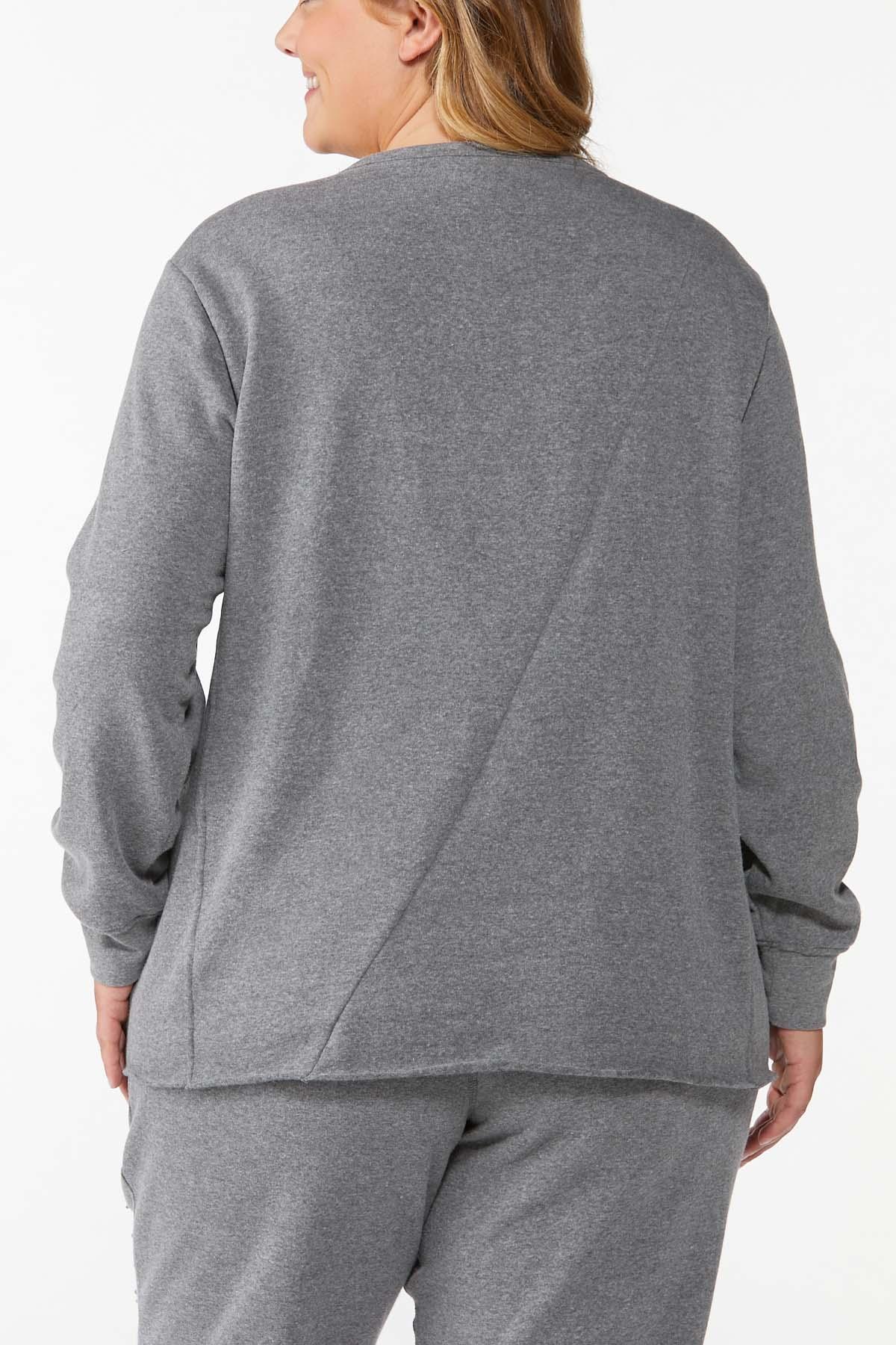 Plus Size Distressed Sweatshirt (Item #44712288)