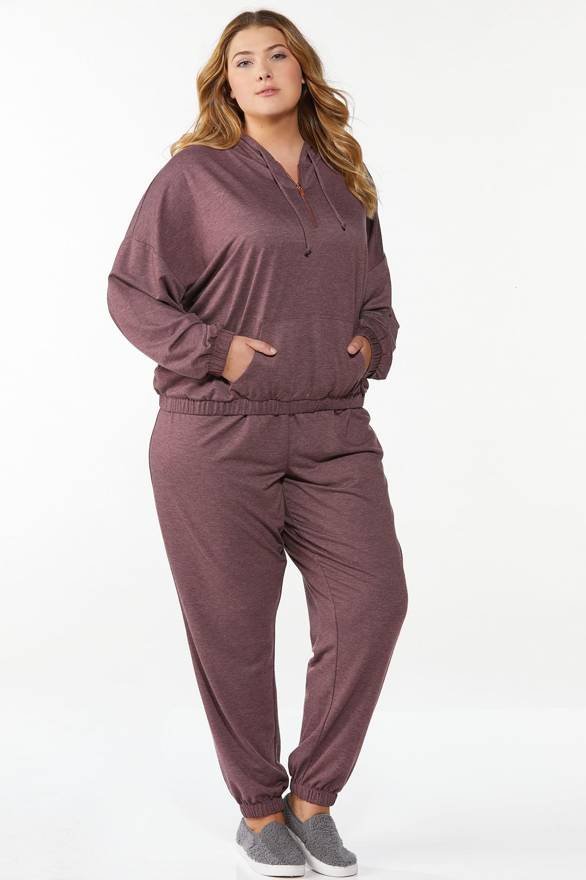 Plus Size Wine French Terry Hoodie (Item #44712364)