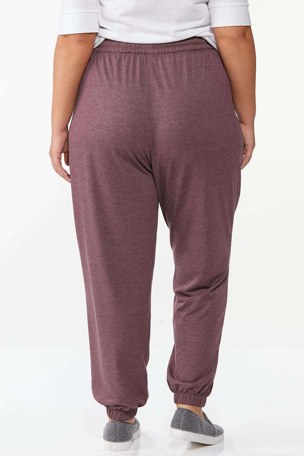 Plus Size Wine French Terry Joggers (Item #44712379)