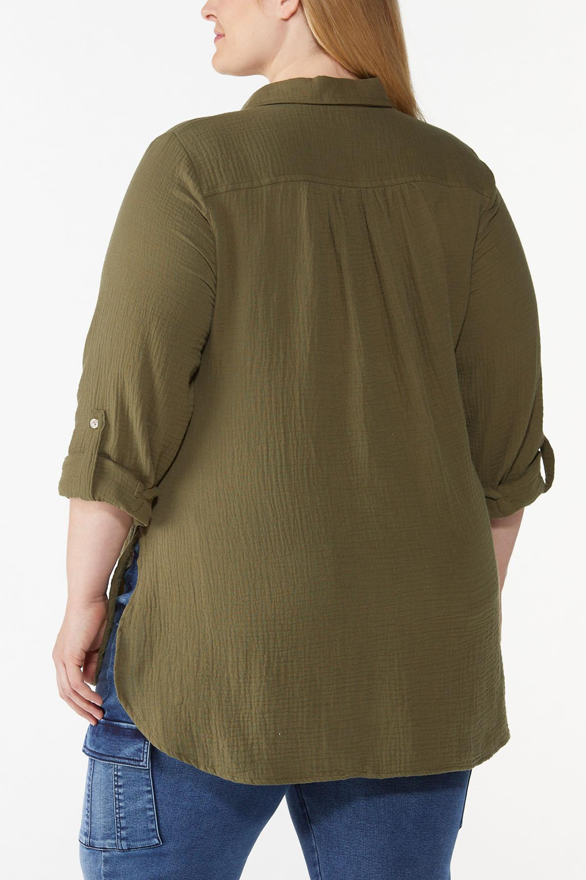 Plus Size Solid Textured Tunic (Item #44713199)