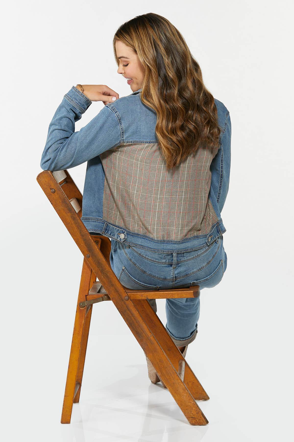 Plus Size Plaid Back Denim Jacket (Item #44713200)