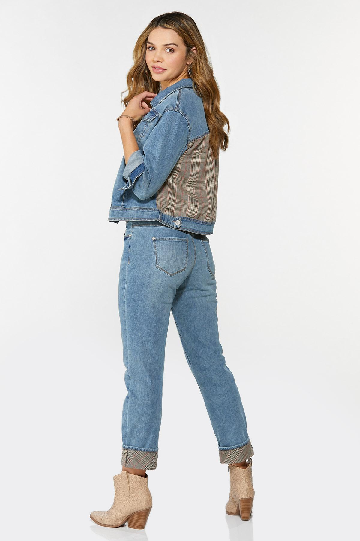 Plaid Cuff Girlfriend Jeans (Item #44713240)