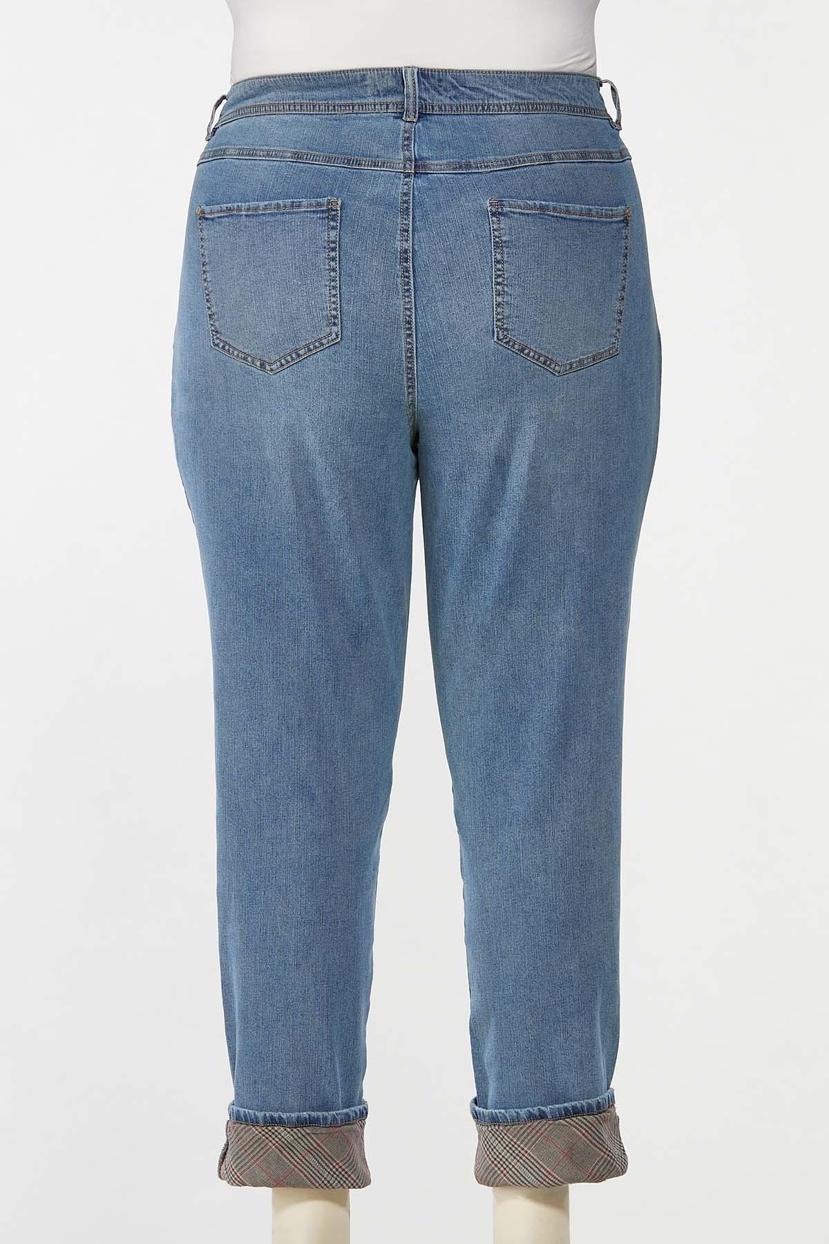 Plus Size Plaid Cuff Girlfriend Jeans (Item #44713536)