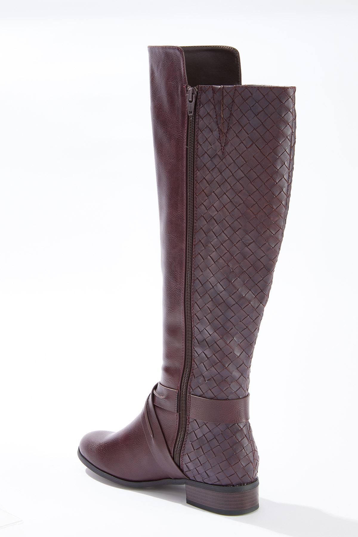 Wide Width Woven Effect Riding Boots (Item #44713850)