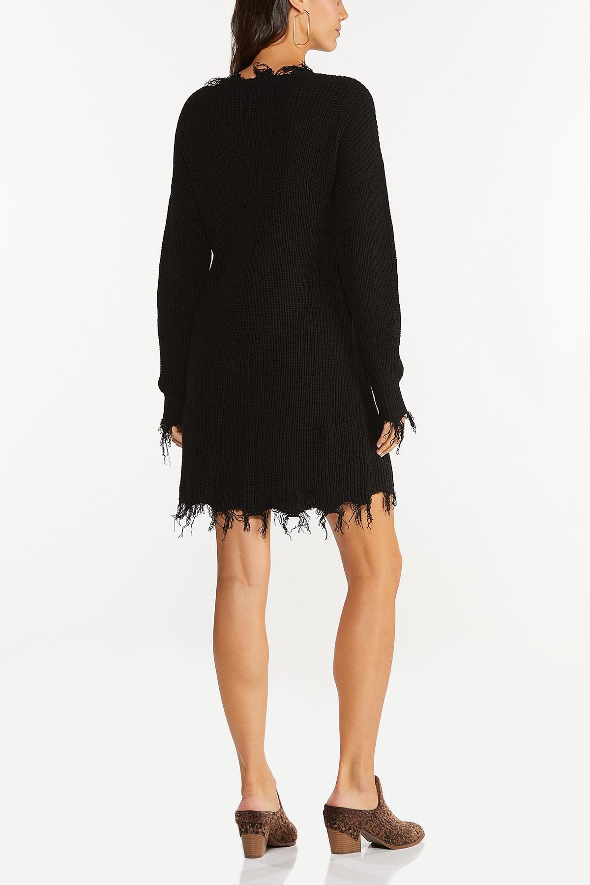 Plus Size Frayed Sweater Dress (Item #44714332)