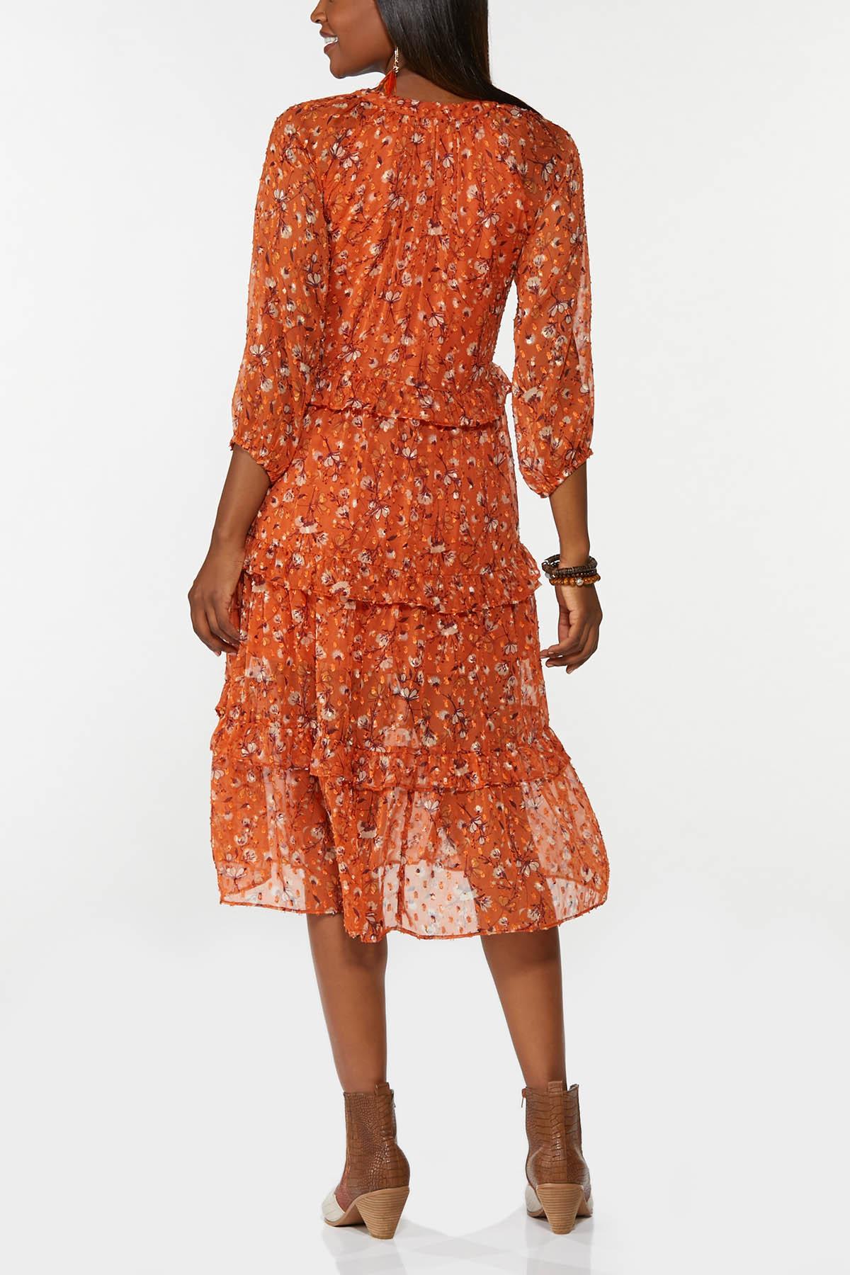 Tiered Orange Floral Dress (Item #44714719)