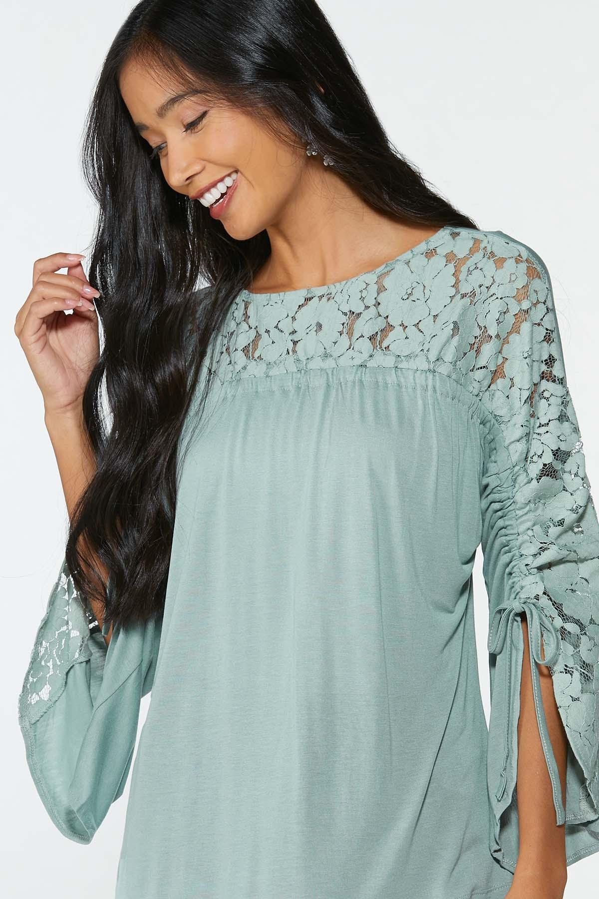Lacy Ruched Sleeve Top (Item #44714748)