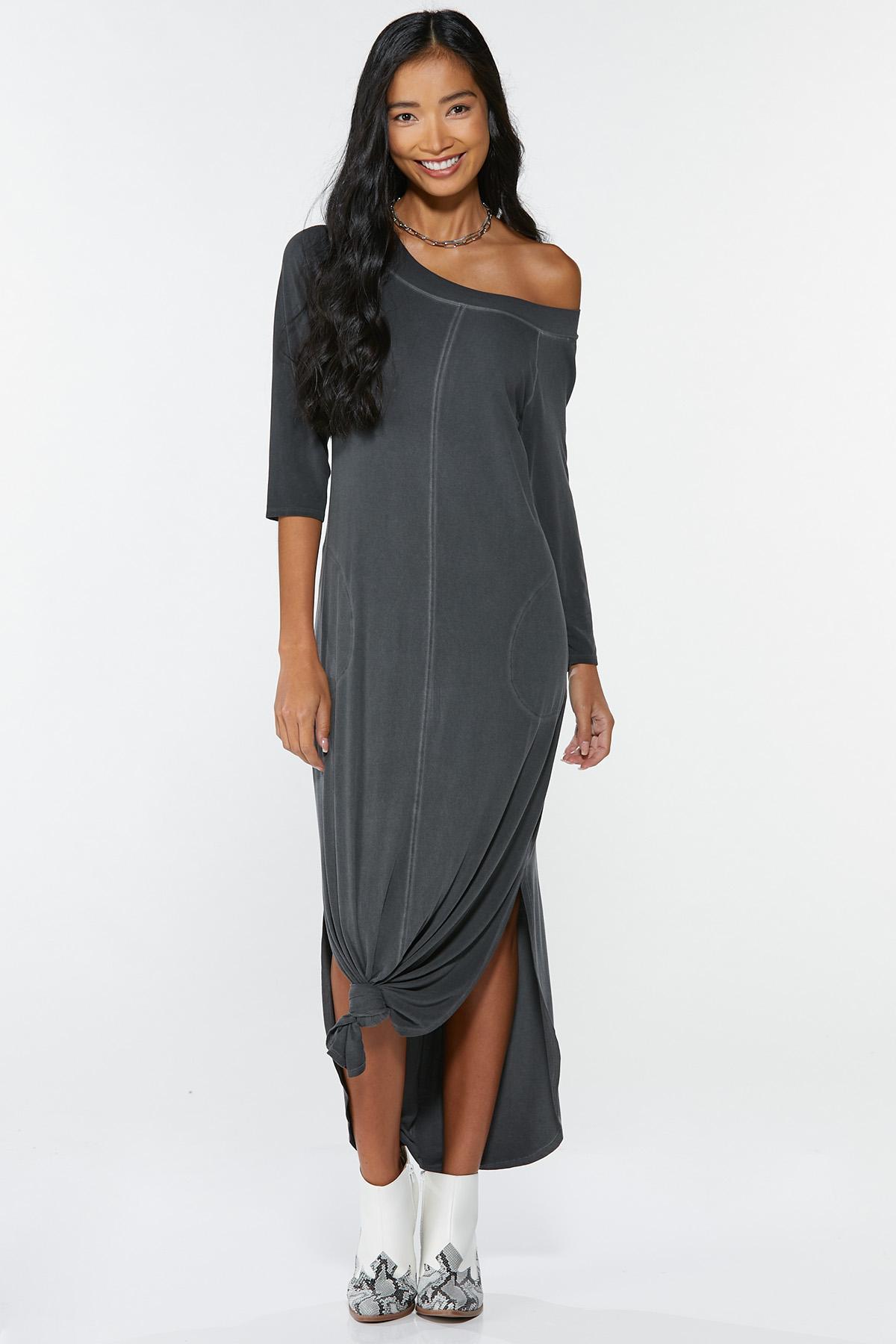 Plus Size Knotted Maxi Shirt Dress (Item #44715227)