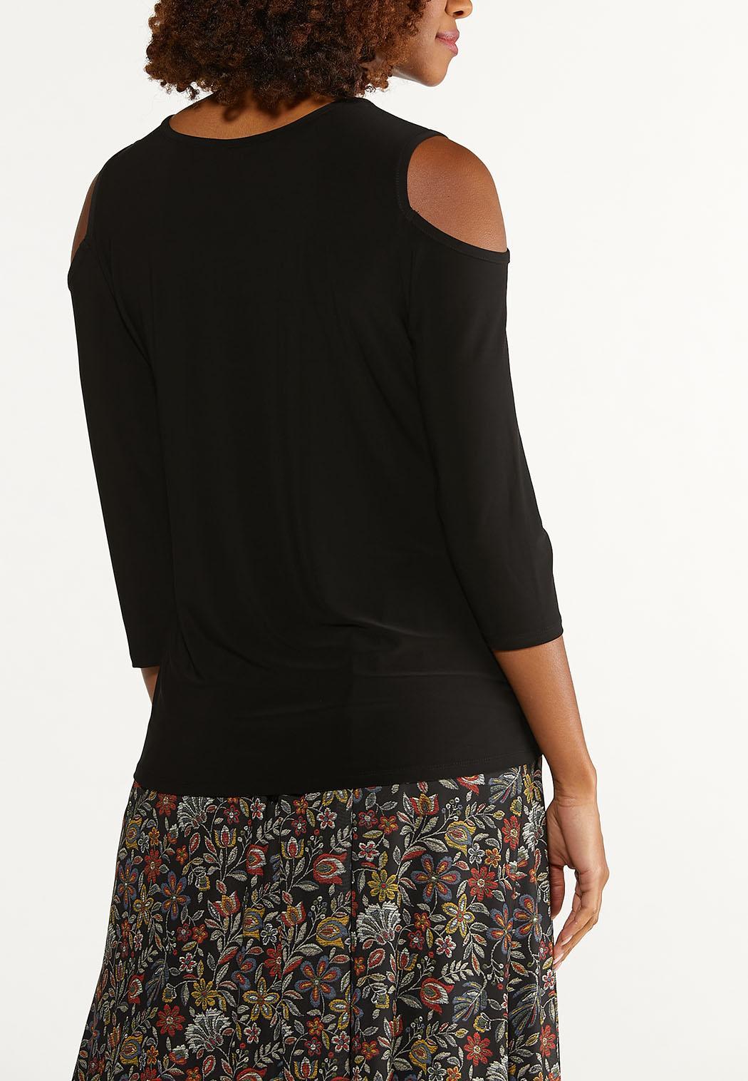 Plus Size Stretch Cold Shoulder Top (Item #44717018)