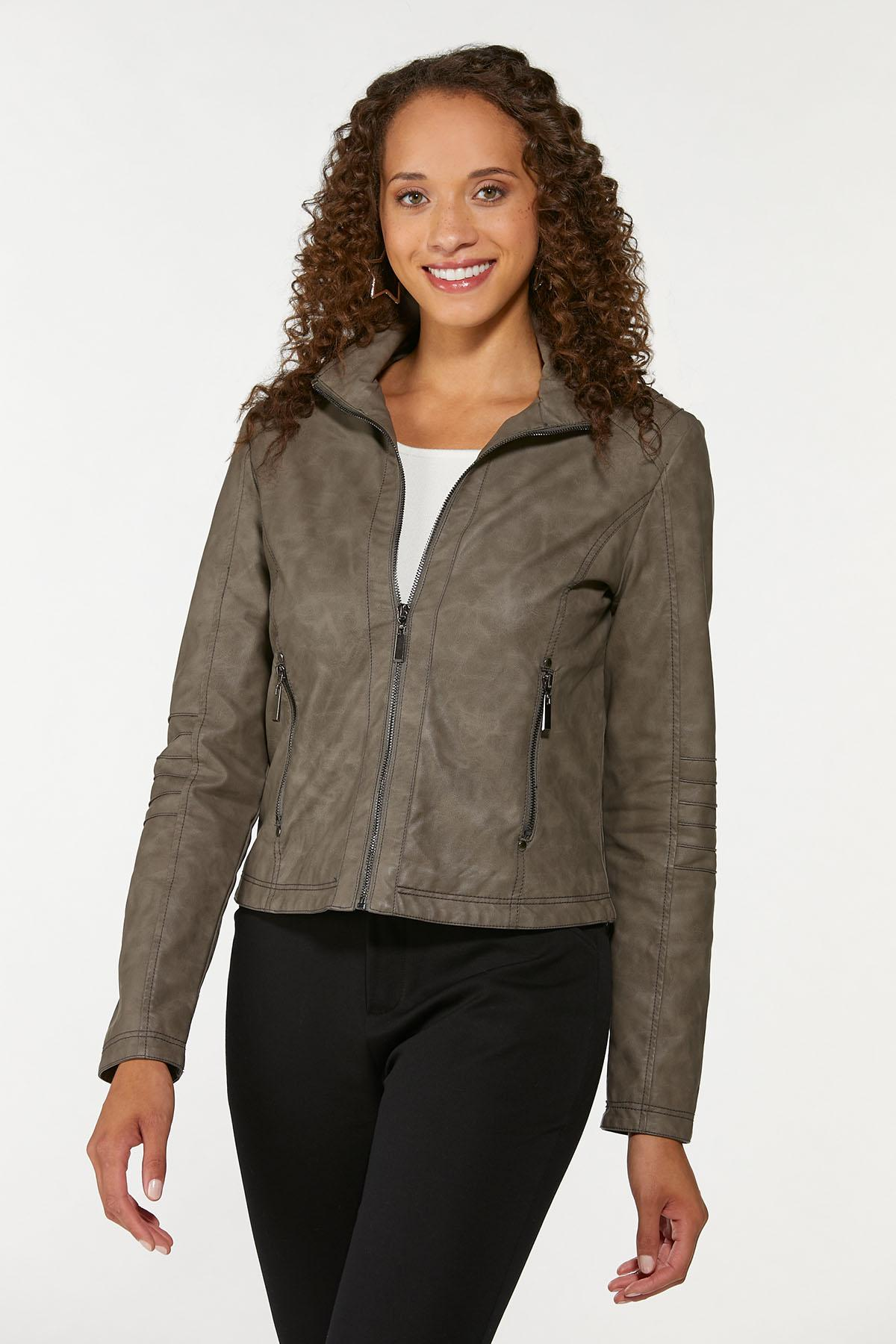 Faux Leather Pintucked Jacket (Item #44717229)