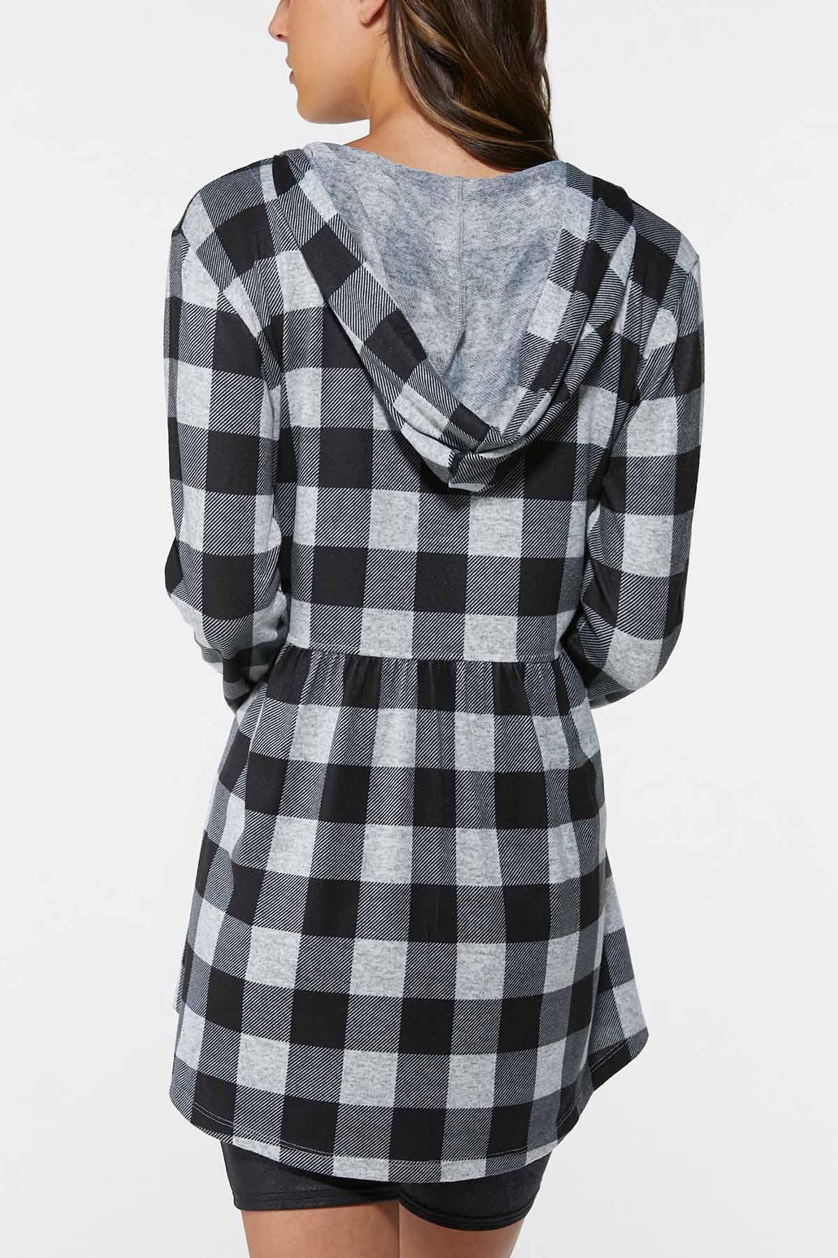 Plus Size Hooded Plaid Shirt (Item #44717576)
