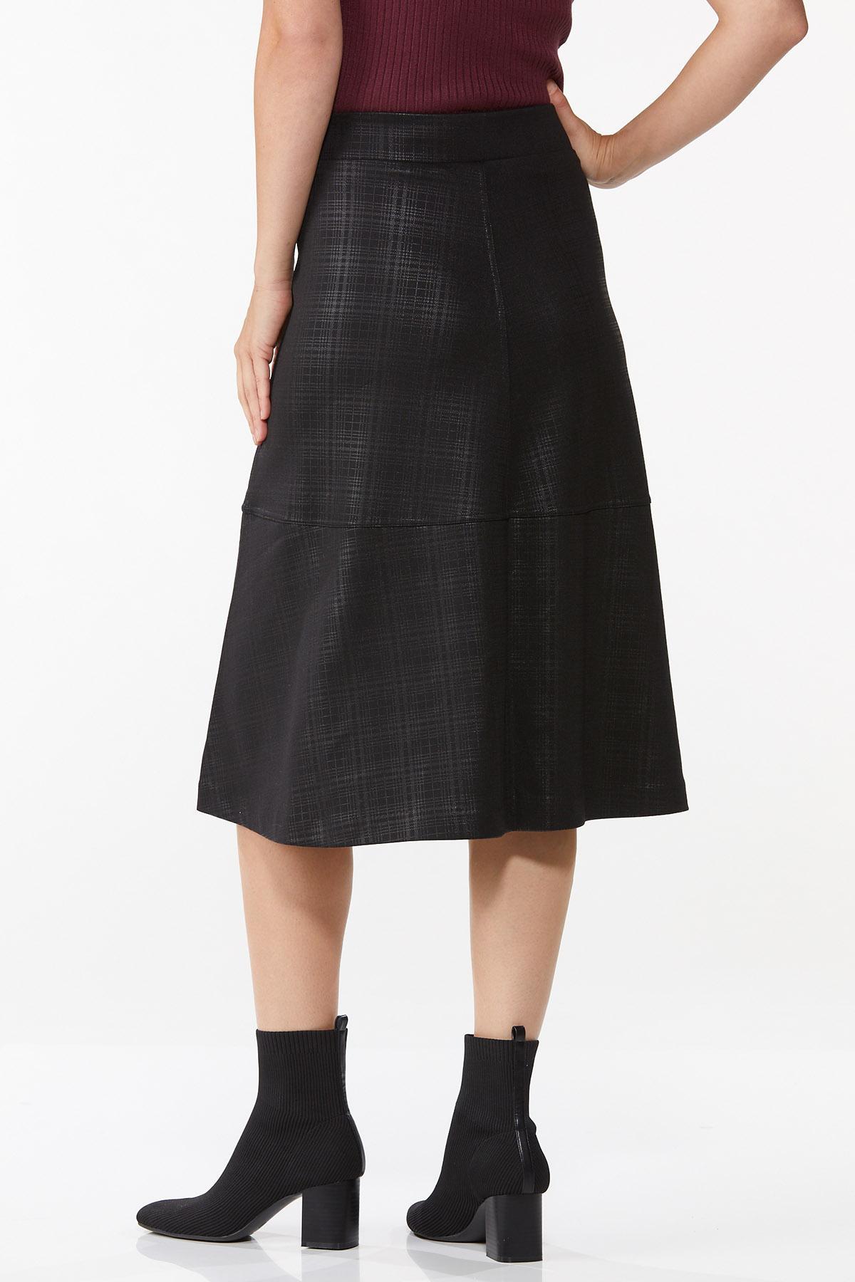 Coated Plaid Midi Skirt (Item #44718423)