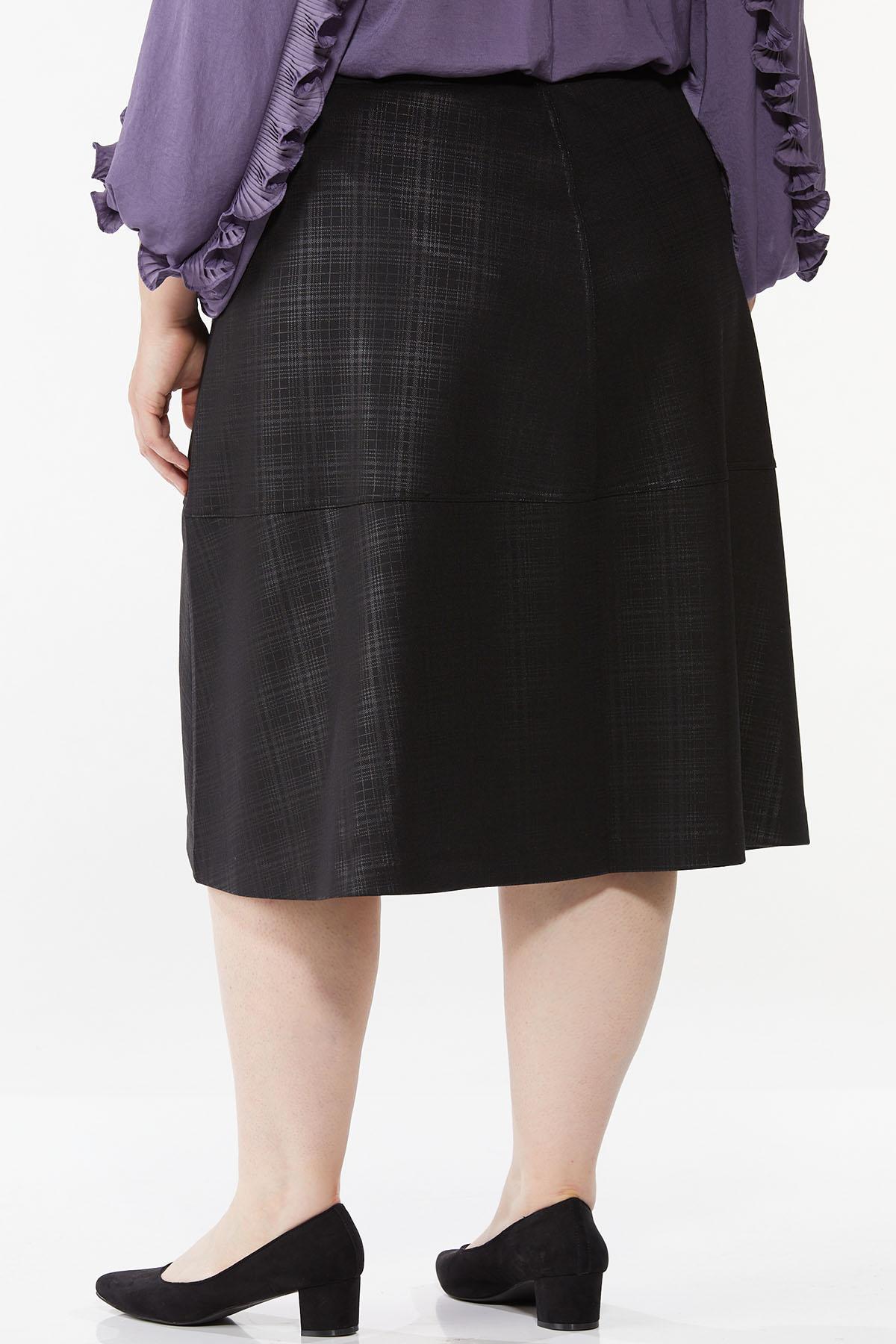 Plus Size Coated Plaid Midi Skirt (Item #44718434)