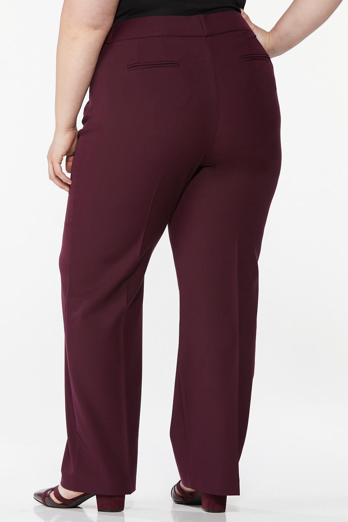 Plus Petite Curvy Wine Trousers (Item #44719445)