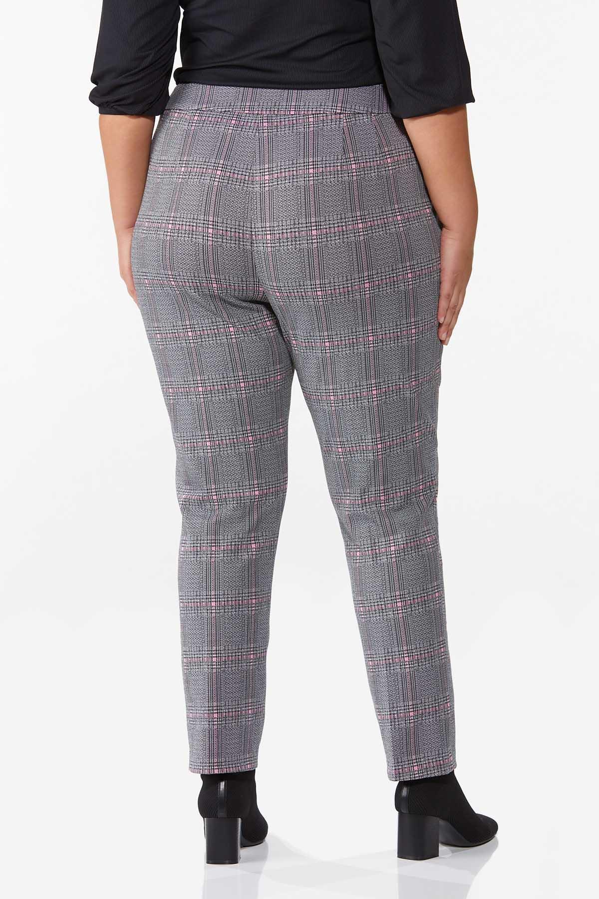 Plus Size Plaid Hint Of Pink Pants (Item #44719971)