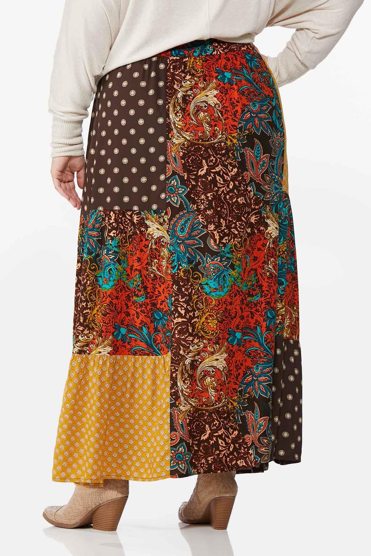 Plus Size Autumn Patchwork Maxi Skirt (Item #44720188)