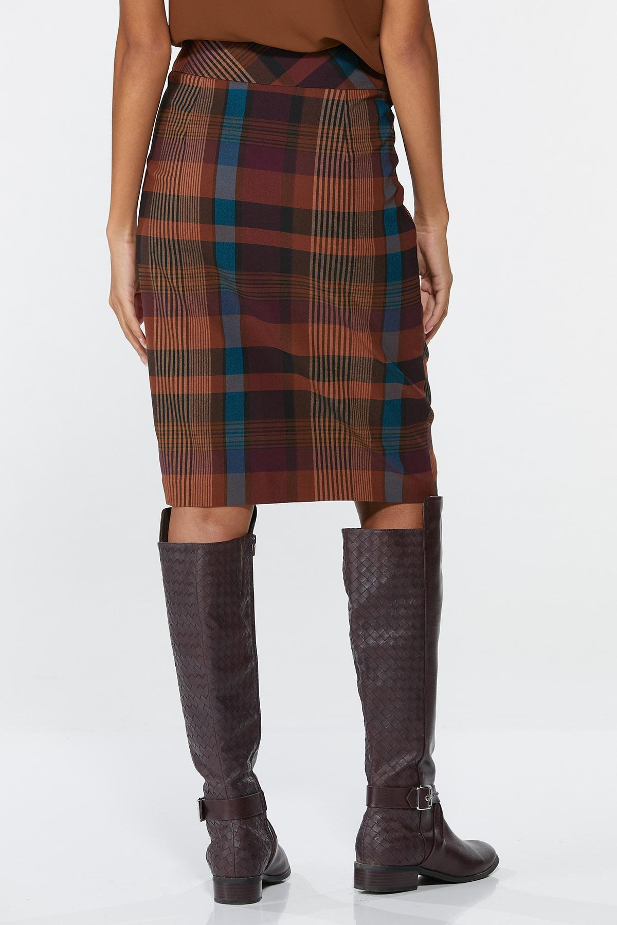 Plus Size Plaid Pencil Skirt (Item #44720212)