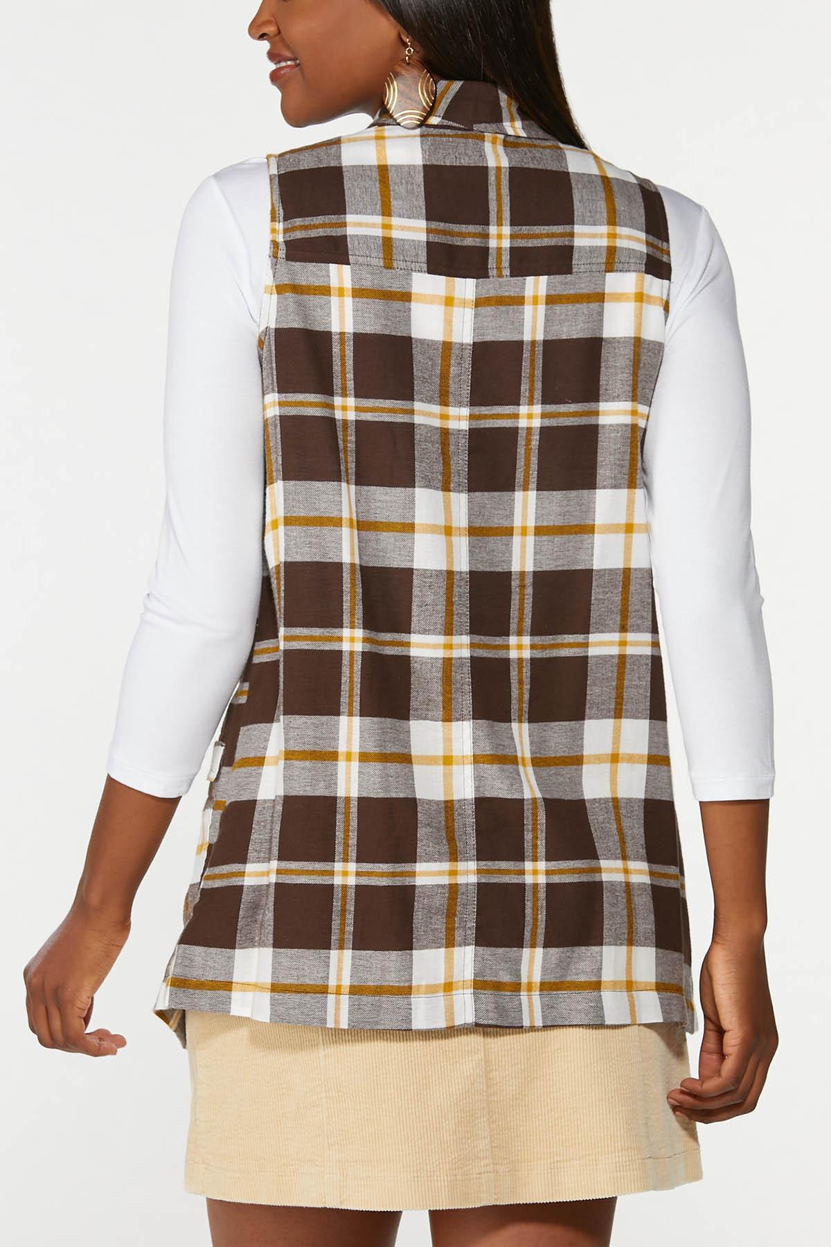 Plus Size Brown Plaid Vest (Item #44720461)