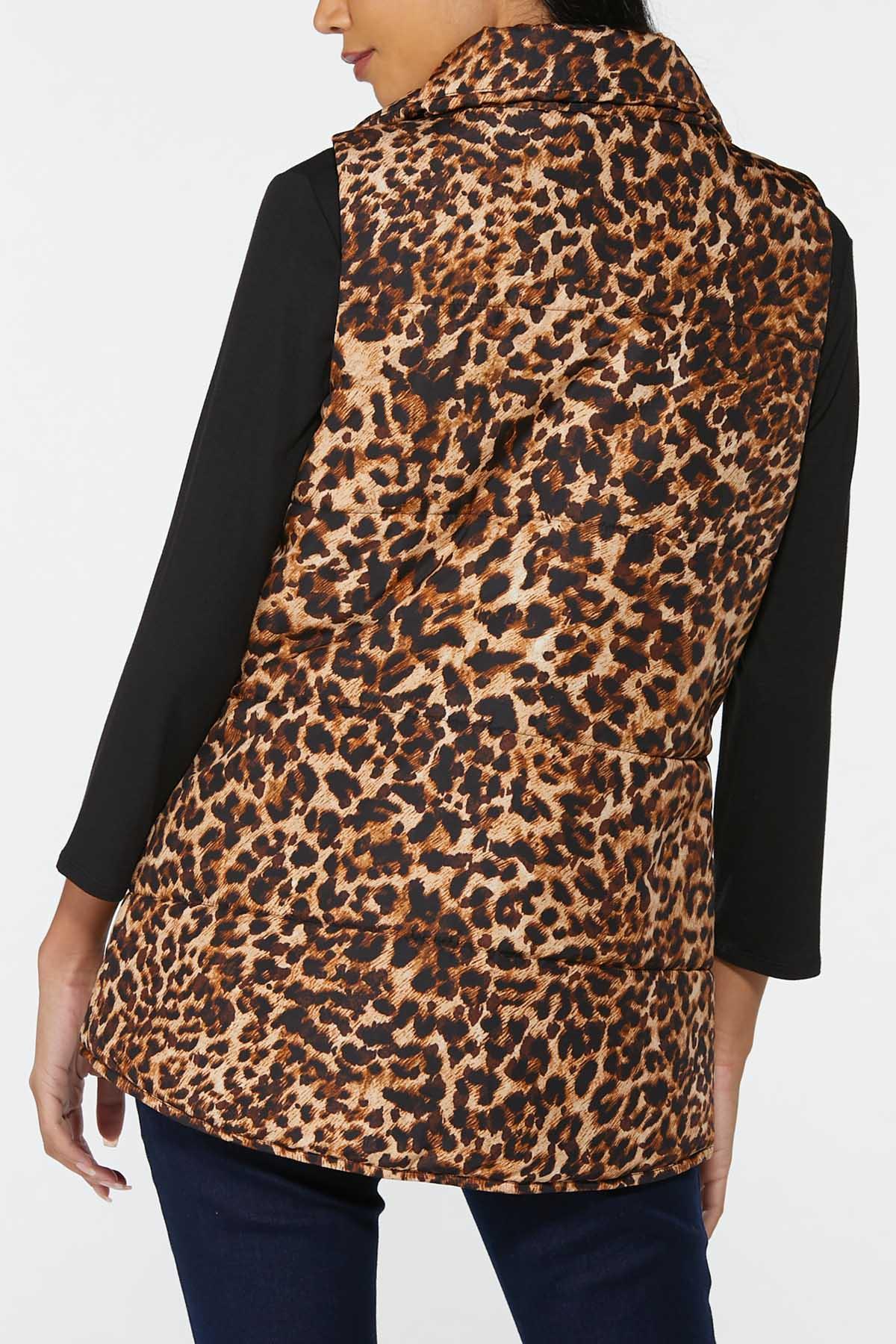 Plus Size Leopard Puffer Vest (Item #44720531)