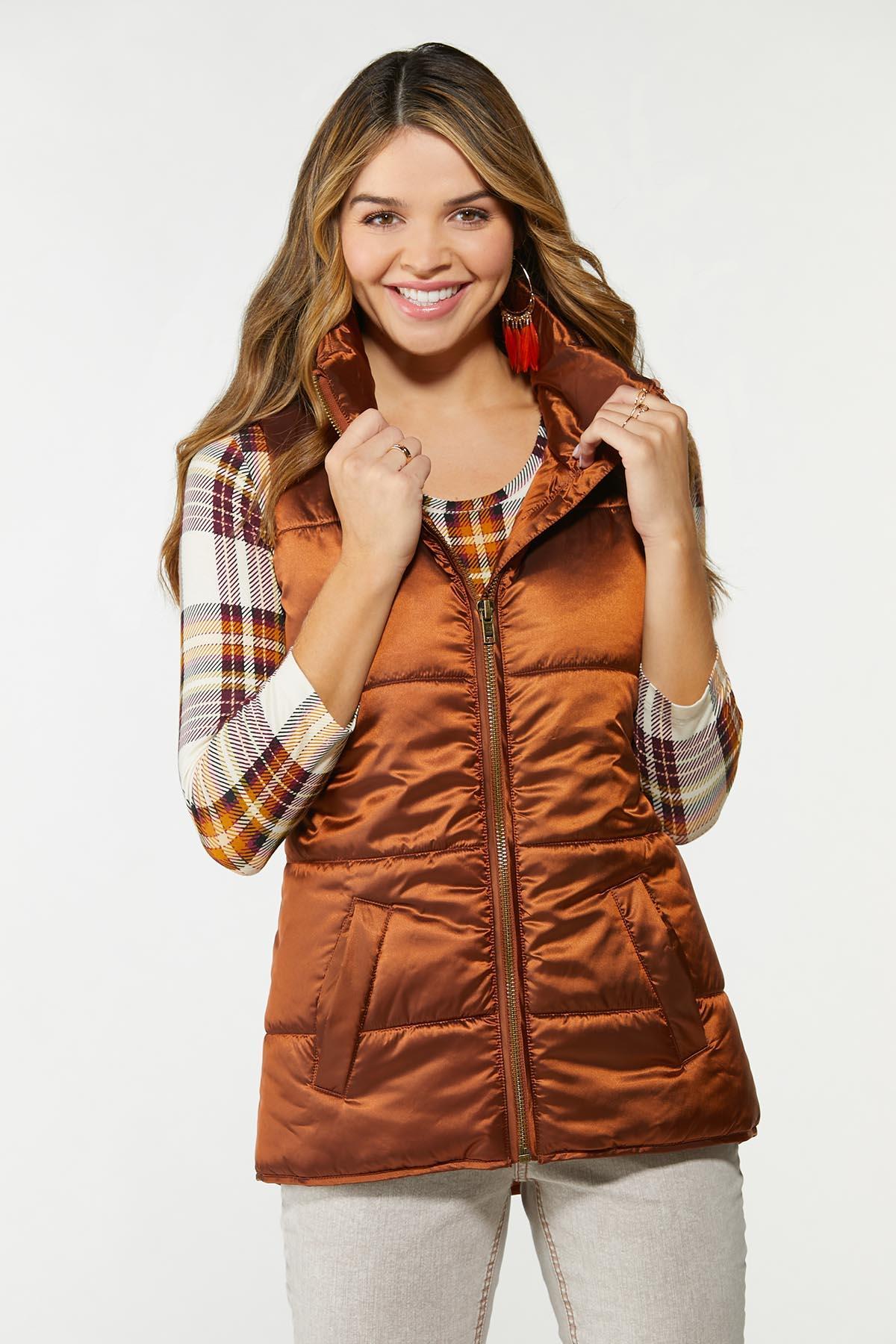 Plus Size Bronze Puffer Vest (Item #44720549)