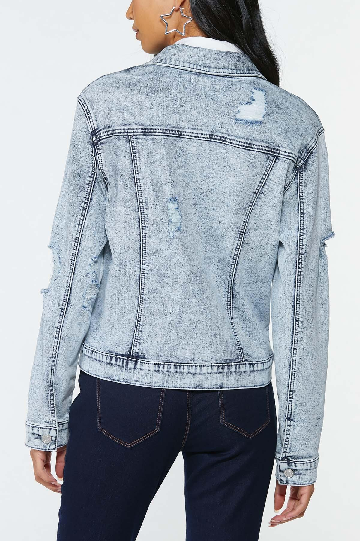Plus Size Acid Wash Denim Jacket (Item #44721338)