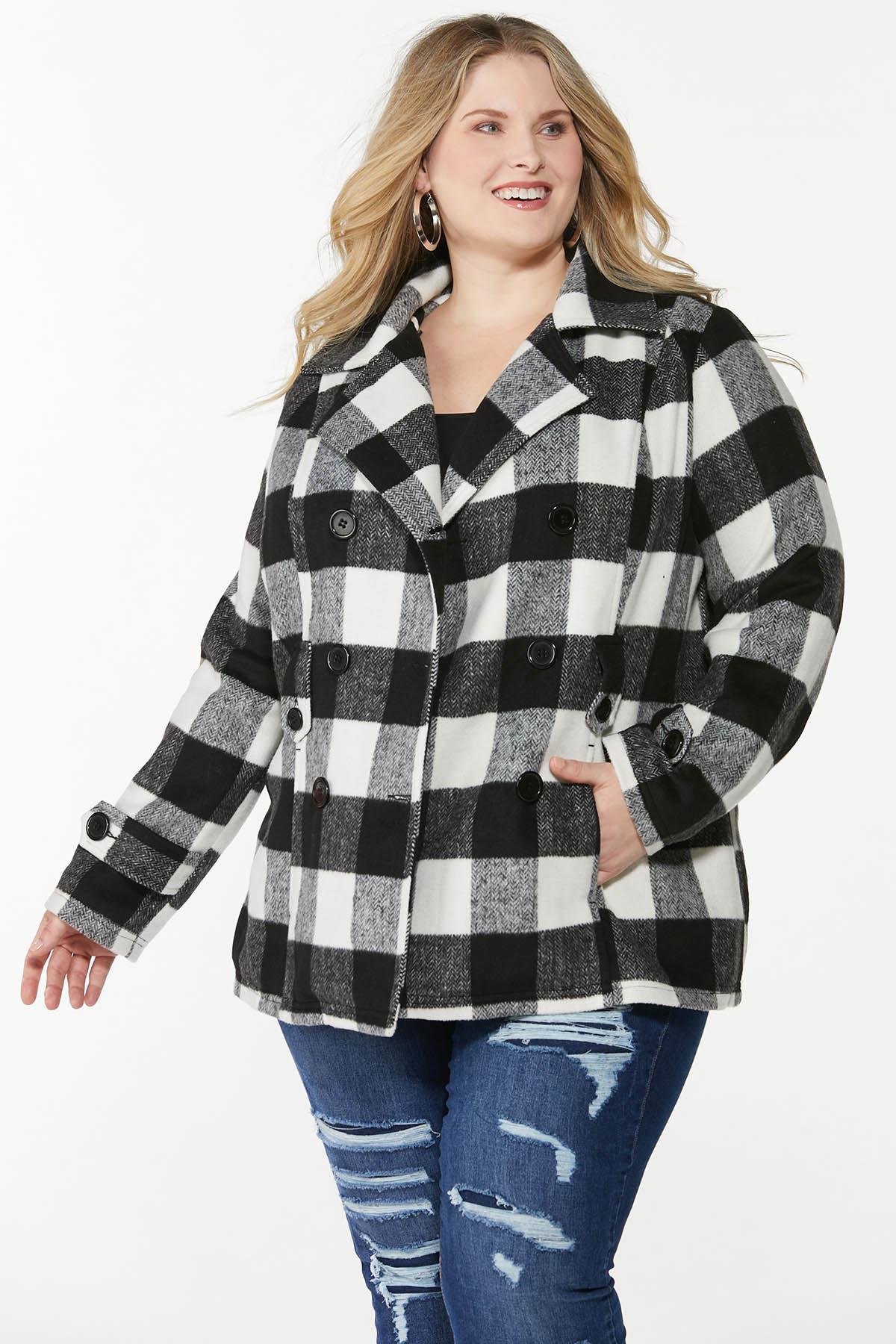 Plus Size Buffalo Plaid Belted Coat (Item #44722700)