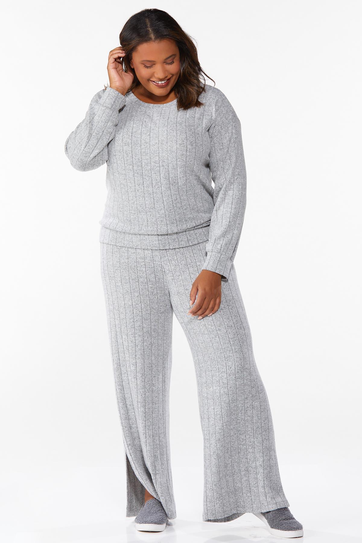 Plus Size Ribbed Knit Pants (Item #44723988)