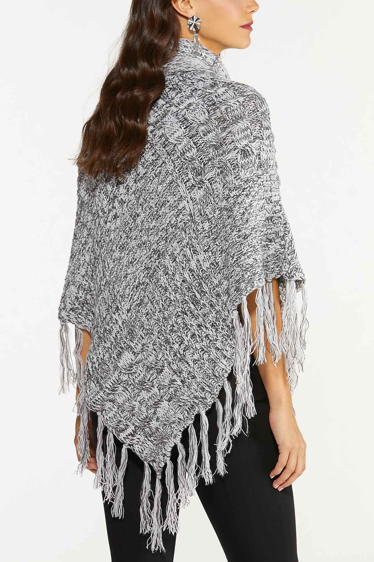Cable Knit Fringe Poncho (Item #44724241)