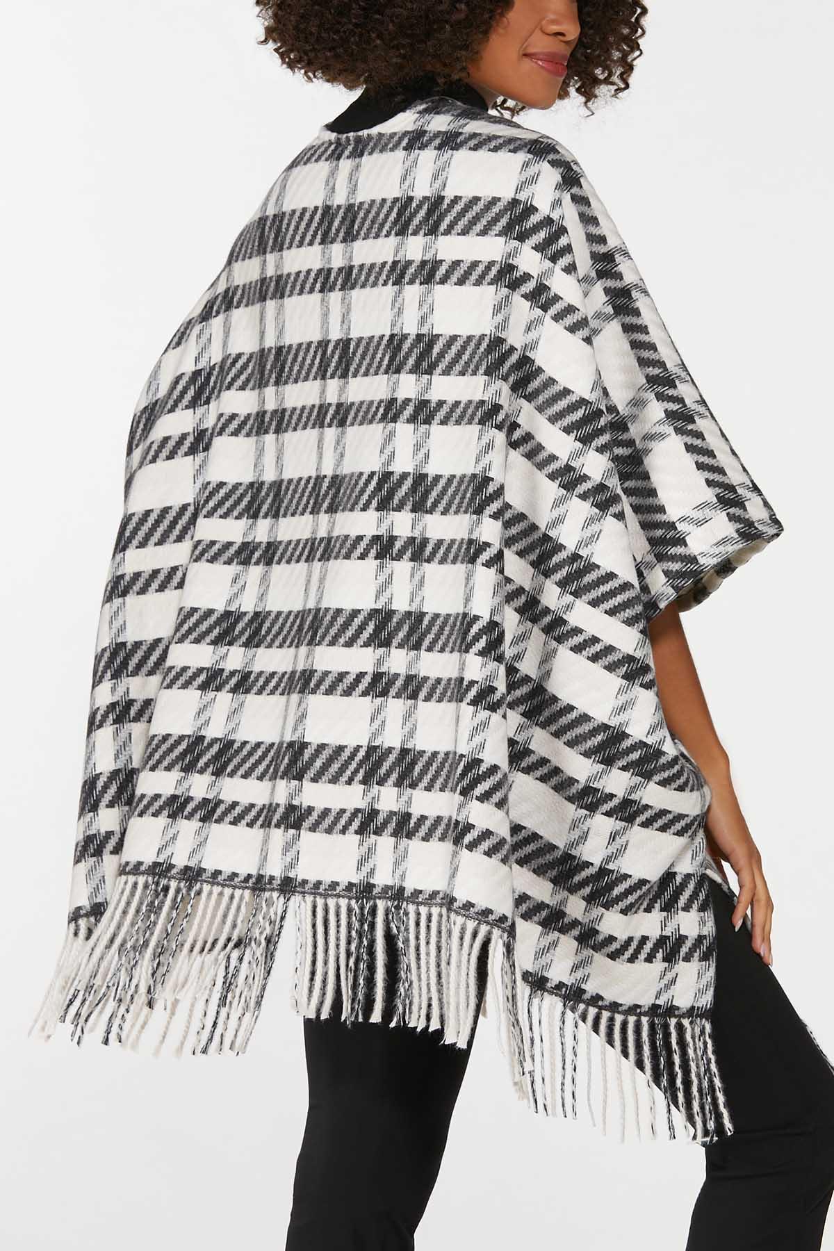 Black White Plaid Poncho (Item #44724268)