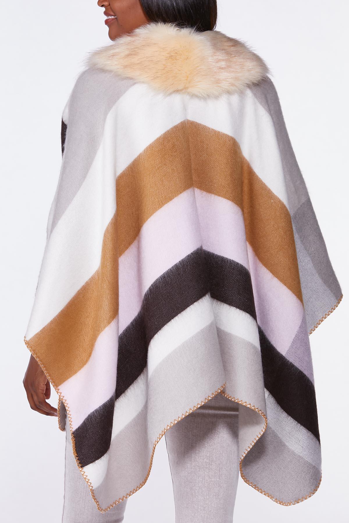 Fur Collar Colorblock Poncho (Item #44724420)