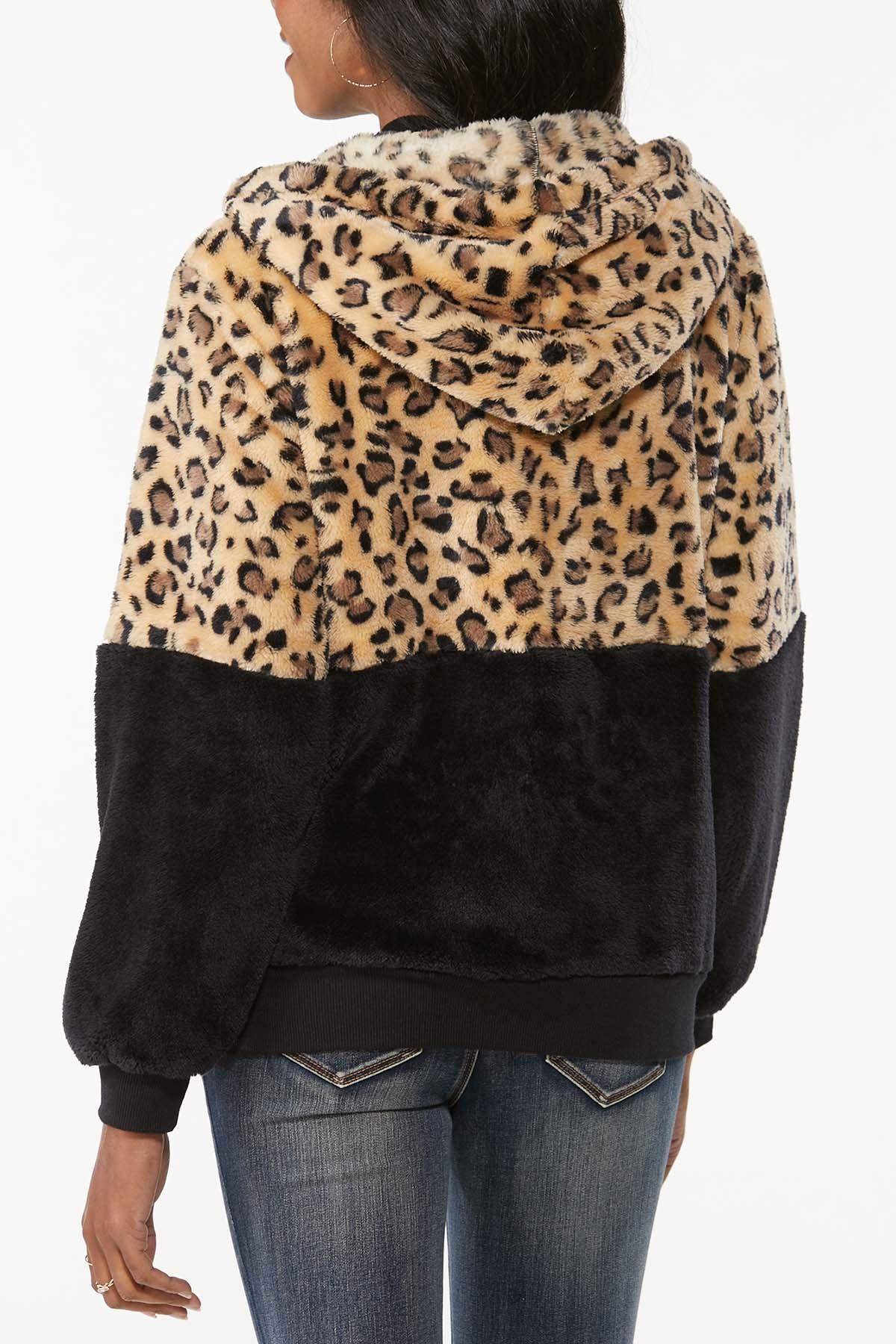Plus Size Colorblock Faux Fur Jacket (Item #44725649)