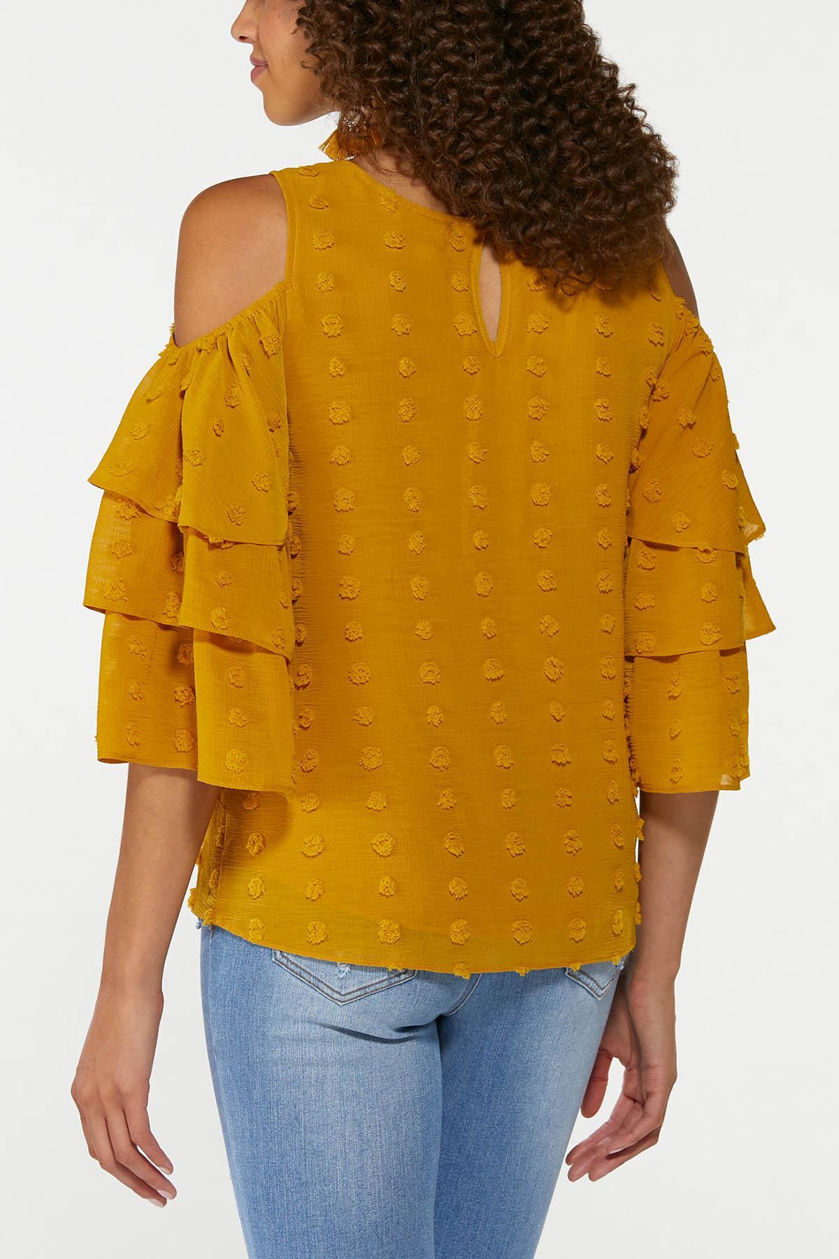 Dotted Cold Shoulder Top (Item #44726206)