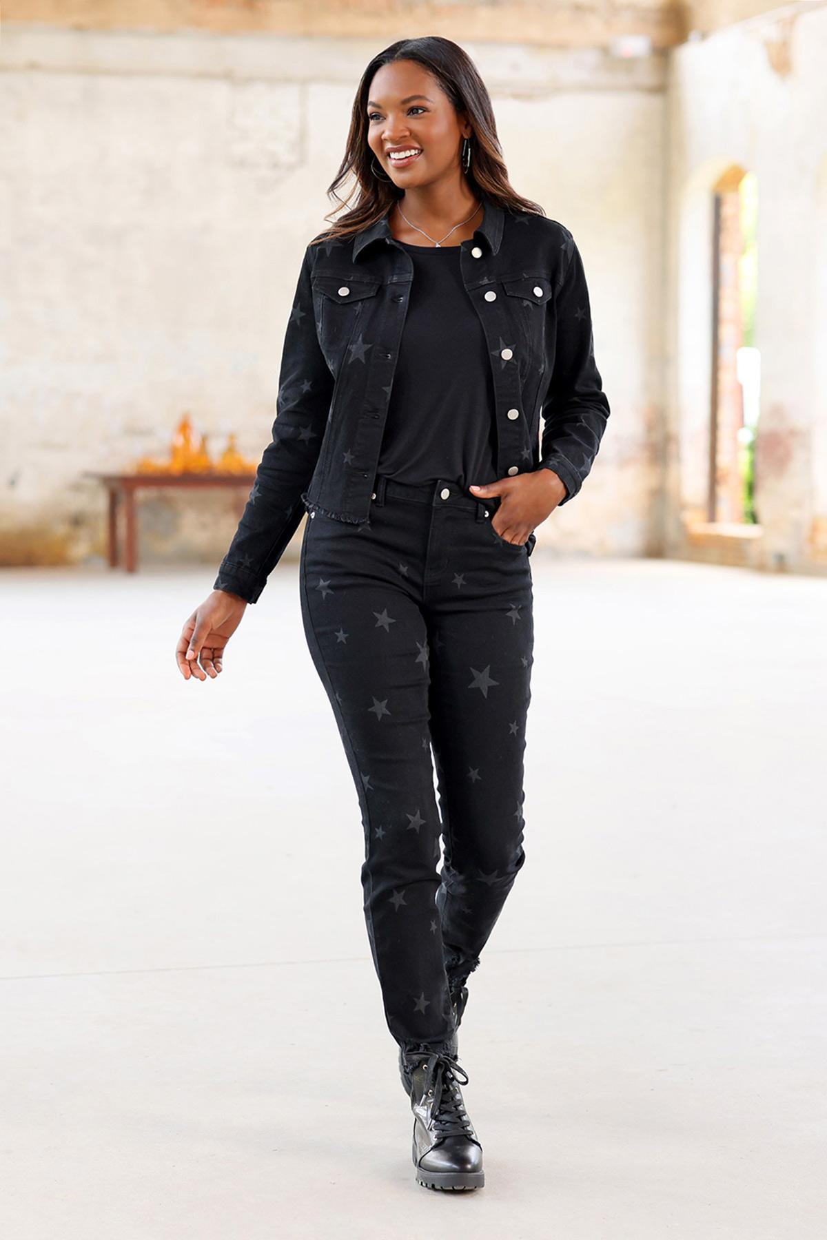 Plus Size Black Star Denim Jacket (Item #44726371)