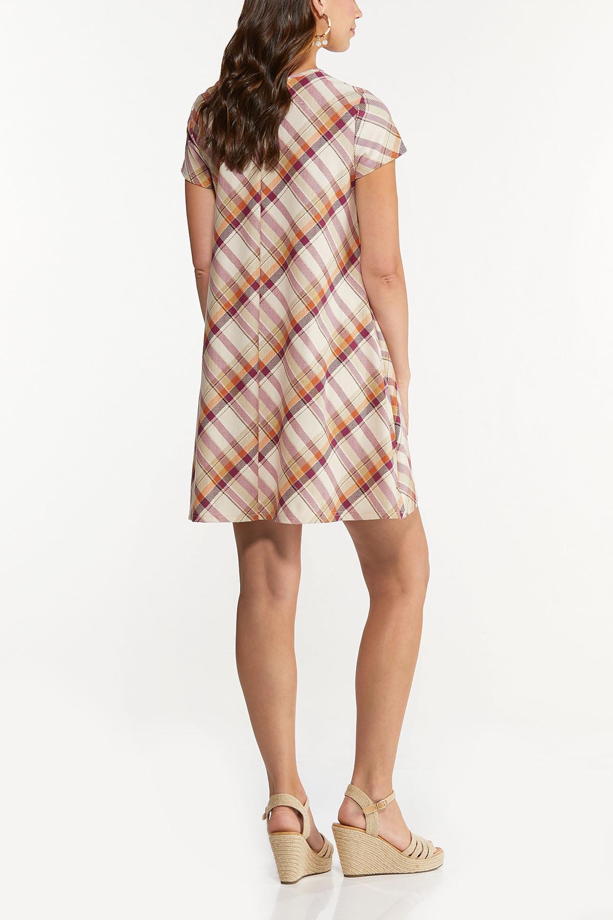Plus Size Ombre Plaid Swing Dress (Item #44729332)