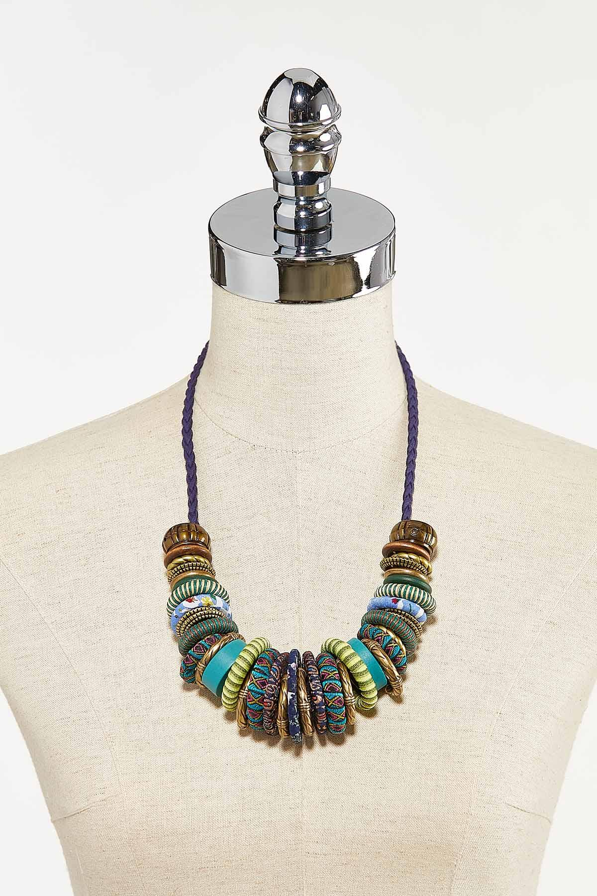 Fabric Wrapped Disc Necklace (Item #44731550)