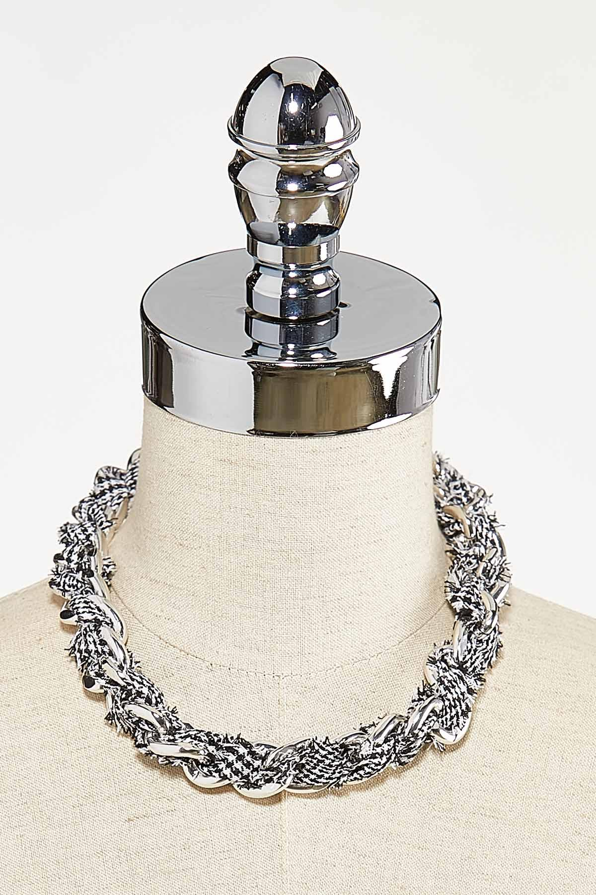 Houndstooth Fabric Chain Necklace (Item #44731843)