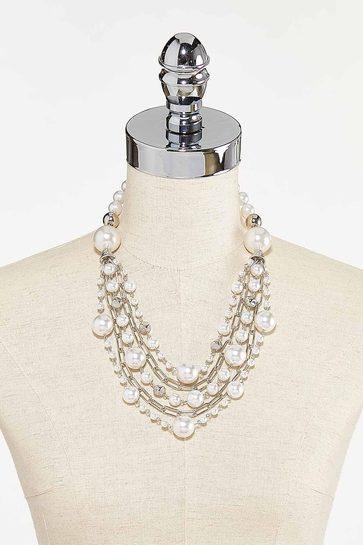 Layered Pearl Statement Necklace (Item #44731991)