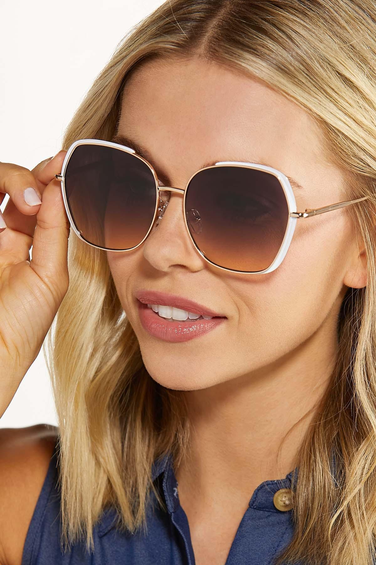 White Gold Statement Sunglasses (Item #44735695)