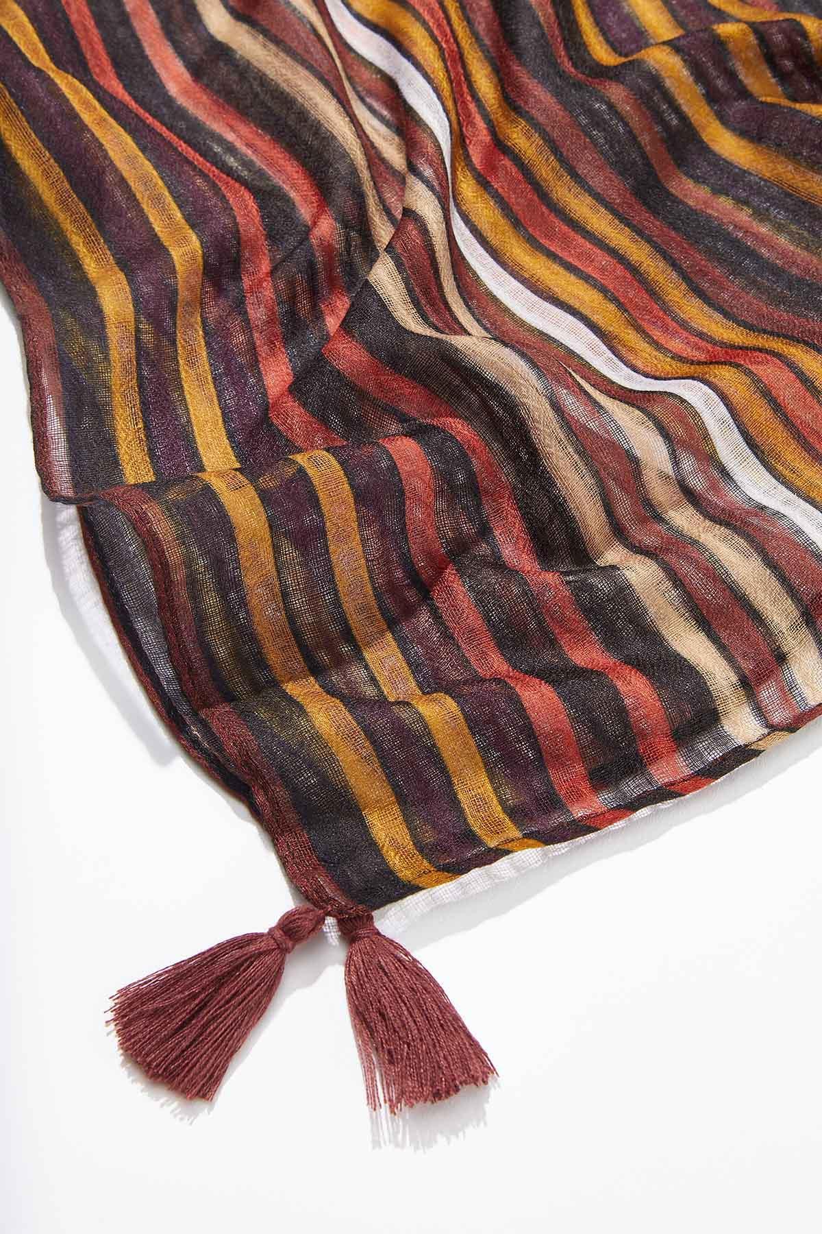 Stripe Tasseled Oblong Scarf (Item #44736170)